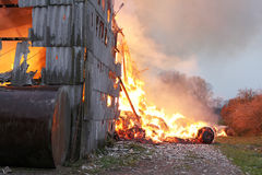 Burning farm building with hay Royalty Free Stock Photography