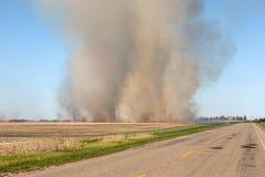Burning farm field Stock Photo