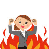 Burning female office worker. A female office worker whose fire burns behind Stock Image