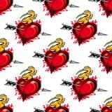 Burning fiery heart seamless pattern Stock Photo