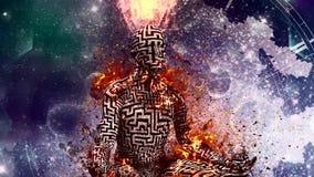 Burning figure of man with maze pattern in lotus pose
