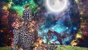 Burning figure of man with maze pattern in lotus pose. Vivid universe on background