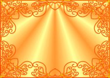 Burning figured frame. Burning frame with pattern of hearts on gradient background Royalty Free Stock Images