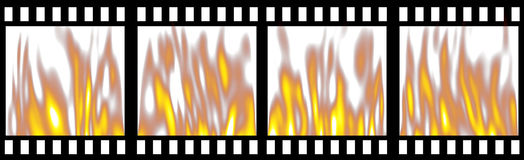 Burning Film Strip. Isolated in white Royalty Free Stock Photos
