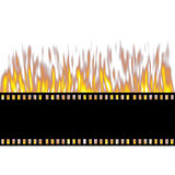 Burning Film Strip. Isolated in white Stock Photography