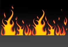 Burning fire. Burning vector flame on black background Stock Photos