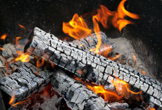 Burning fire. Place with flames and sparks Stock Image