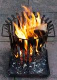 Burning fire basket Royalty Free Stock Image