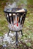 Burning Fire Basket Stock Photos