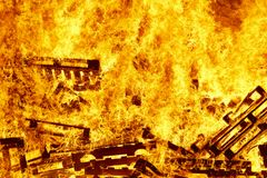 Burning fire bonfire, fire fighting. Flame ignition. Warning. Danger Royalty Free Stock Photos