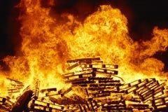 Burning fire, bonfire. Fire fighting, flame ignition. Warning. Burning fire, bonfire. Fire fighting warning. Danger Stock Photos