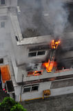 Burning Fire in Building Stock Photos