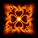 Burning fire cross. ю Illustration on black background for design Royalty Free Stock Image