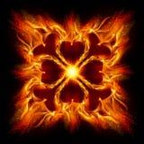 Burning fire cross. ÑŽ Illustration on black background for design stock illustration