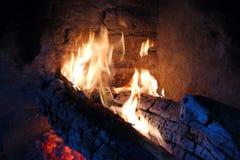 Burning fire and faint coal stock photo
