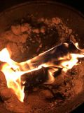 Burning fire. A fire burning on BBQ campfire stock images