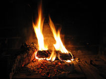 Burning fire at fireplace Royalty Free Stock Image