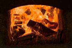 Burning fire in the fireplace Stock Image