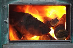 Burning Fire in fireplace Royalty Free Stock Photo