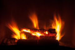 Burning fire in the fireplace Stock Photo