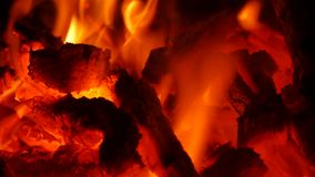 Fire in fireplace. Burning fire in fireplace in the middle of winter stock video