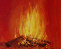 Burning Fire in a Fireplace. An oil painting on canvas of a bright burning fire in a fireplace, over a vivid red background Stock Images