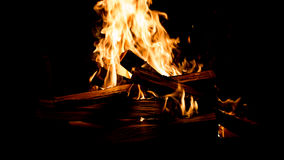 The burning fire in the fireplace Royalty Free Stock Photo