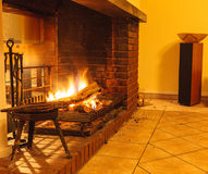 Burning fire in fireplace. Stock Photo
