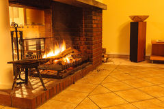 Burning fire in fireplace. Royalty Free Stock Photos