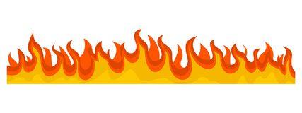 Burning fire flame banner horizontal, flat style. Burning fire flame banner horizontal. Flat illustration of vector burning fire flame banner horizontal for web Royalty Free Stock Photos