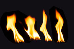 Burning fire flame on black background.  Royalty Free Stock Images