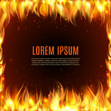 Burning fire flame on the black background. Burning fire flame frame on the black background with text in center vector illustration Royalty Free Stock Photography