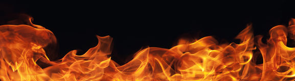Burning fire flame on black background. Or texture Royalty Free Stock Photo