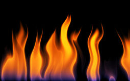Burning fire flame. Digital generated image of fire flames on black stock illustration