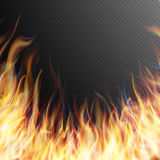 Burning fire flame. EPS 10. Burning fire flame on transparent background. Special effects. Translucent elements. Transparency grid. EPS 10 vector file included Stock Photos