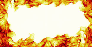 Burning fire flame frame on white background Royalty Free Stock Photo