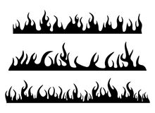 Burning fire flame silhouette set banner horizontal design isola. Ted on white Royalty Free Stock Photo