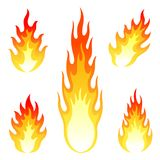 Burning fire and flame vector set isolated on. Different fire and flame vector icon set Royalty Free Stock Images
