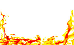 Burning fire flame on white background Stock Photo
