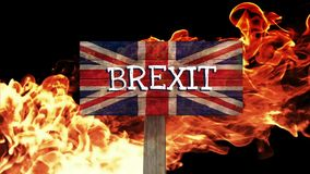 Burning flames video. Burning fire flames against animated British flag background stock video footage
