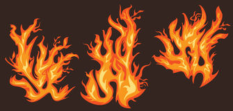 Burning fire flames design graphics. Set of burning fire flames design graphics Stock Image