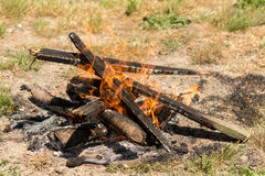 Burning fire in flames and embers preparing for barbecue on the grass land.  Stock Photography