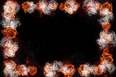 Burning Fire Flames Frame on Black. Realistic burning fire flames frame border, sparks and smoke with copy space, explosion effect on black background Stock Image
