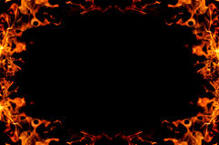 Burning fire frame. Photo frame made up of fire flames stock images