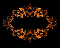Burning fire frame. On black background Royalty Free Stock Photography