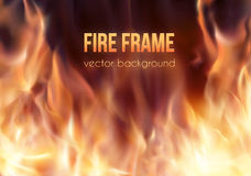 Burning fire frame. Vector Fiery Background Royalty Free Stock Photography