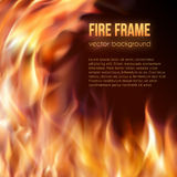 Burning fire frame. Vector Fiery Background. Abstract background with fire flames frame and copyspace for text. Vector illustration. Burning fire frame. Vector Royalty Free Stock Photo
