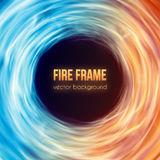 Burning fire frame. Vector Fiery Background Royalty Free Stock Photo