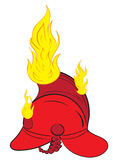 The burning fire helmet. The burning red fire helmet with fire Stock Photo