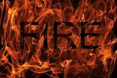Burning fire illustration with the word fire. Burning fire effect background illustration with the word fire Stock Images